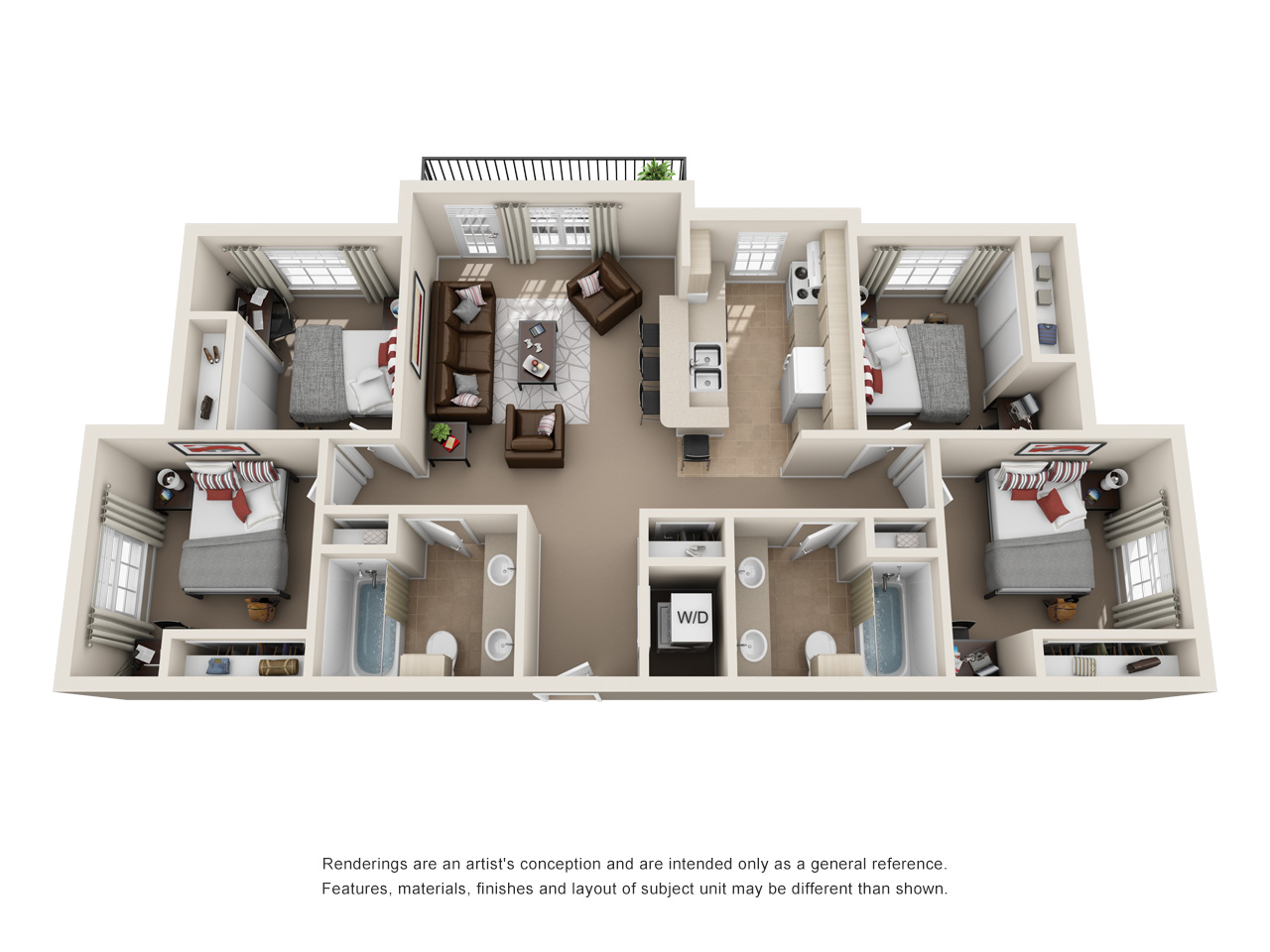 Floor plan of a 4 bed, 2 bath student apartment