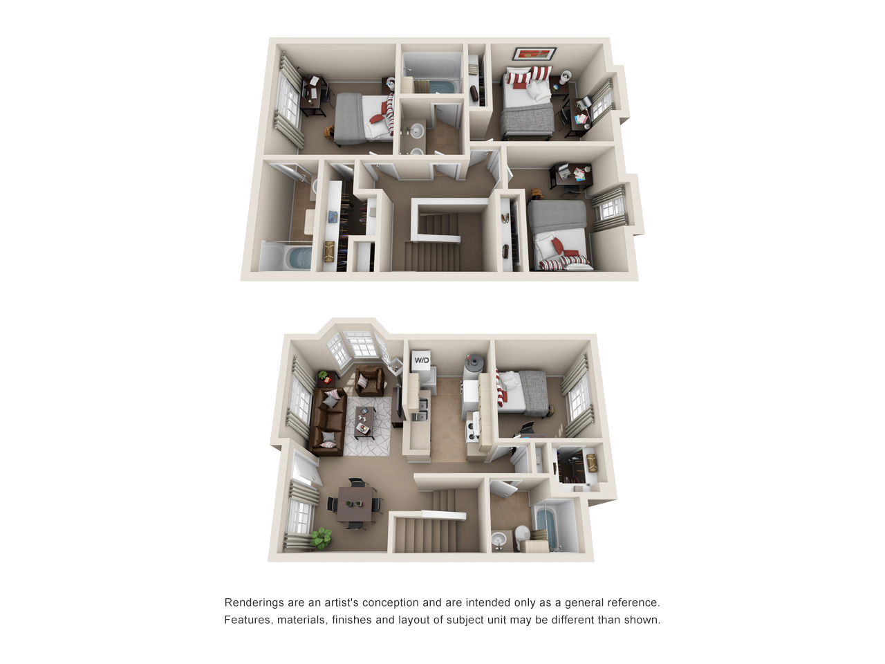 Floor plan of a 4 bed, 3 bath student apartment